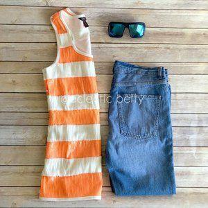 Dereón Neon Orange Ivory Stripe Sequin Tank Top